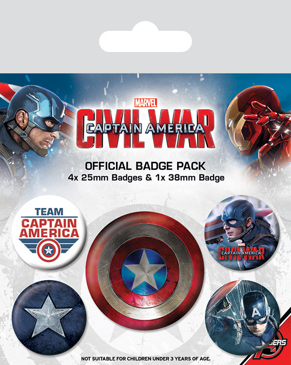 Captain America Civil War - Captain America Badge Pack