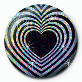 OP HEART - Black and silver Badges