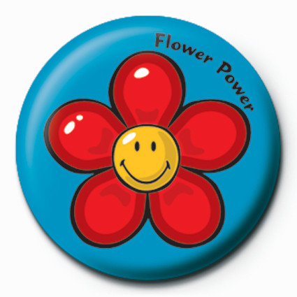 Smiley World-Flower Power Badge