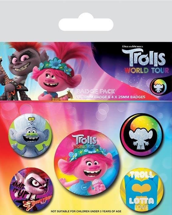 Badge set Trolls World Tour - Powered By Rainbow