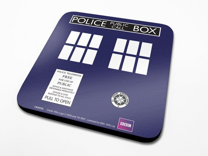 Bases para copos Doctor Who - Tardis