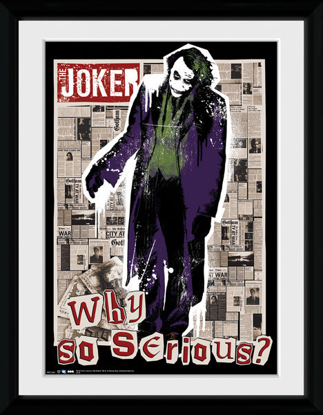 Batman The Dark Knight: Le Chevalier noir - Why So Serious Poster encadré en verre