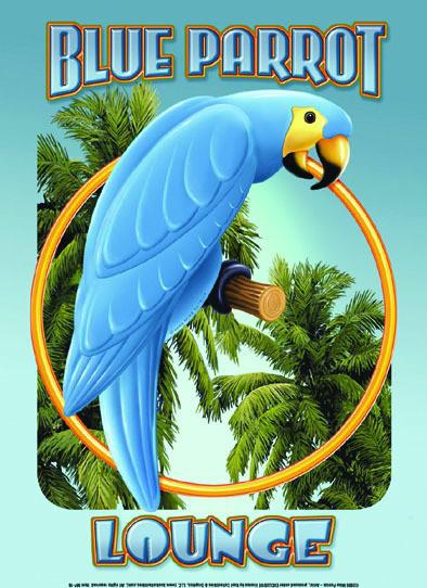 BLUE PARROT LOUNGE Plaque métal décorée