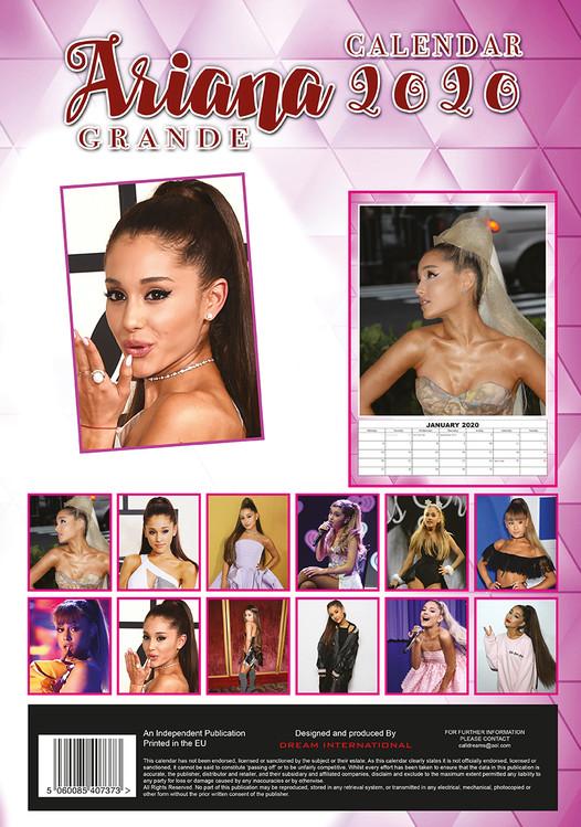 Calendario Ariana Grande 2020.Calendar 2020 Ariana Grande
