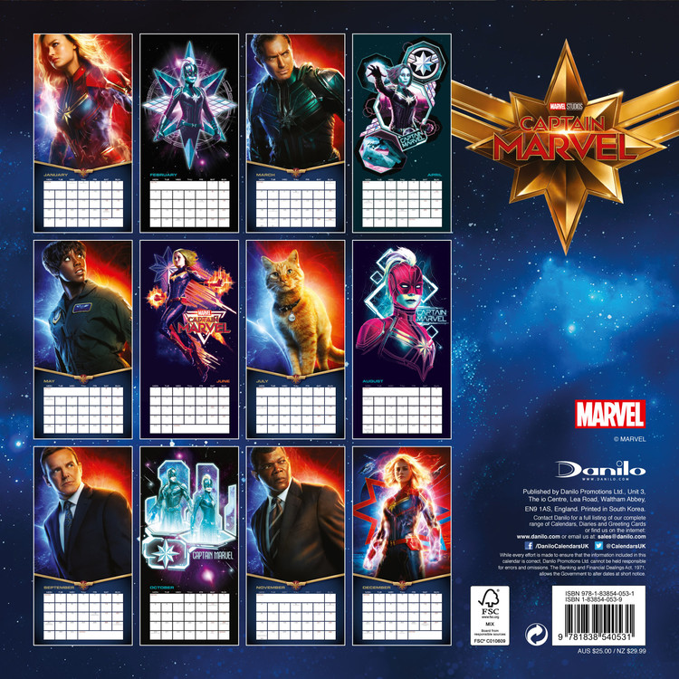 Marvel 2021 Calendar Captain Marvel   Calendars 2021 on UKposters/EuroPosters