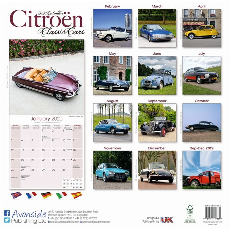 Calendrier Fun Car 2020.Calendar 2020 Citroen Classic Cars
