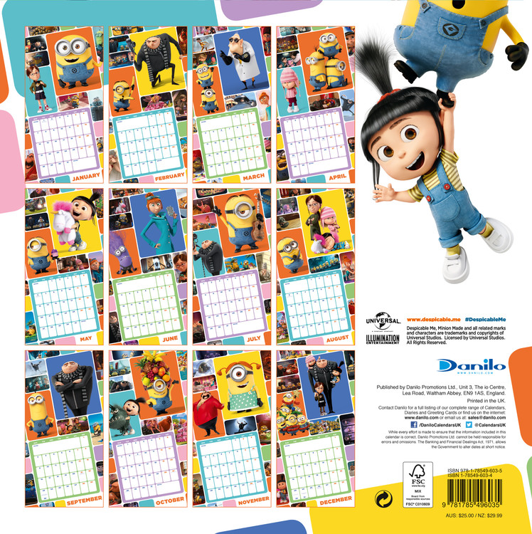 Despicable Me   Calendars 2021 on UKposters/Abposters.com