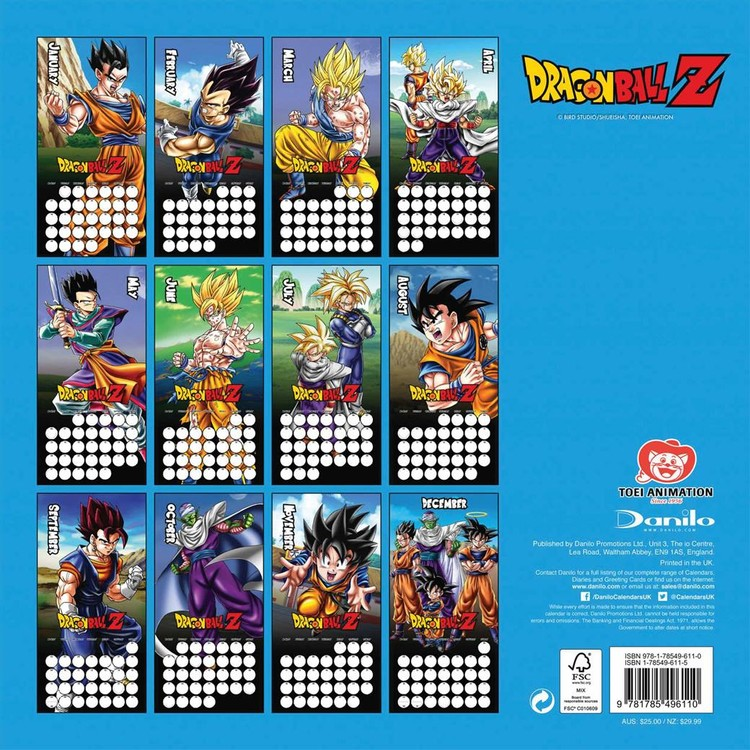 Calendrier 2020 Pinterest.Dragon Ball Z Calendars 2020 On Ukposters Abposters Com