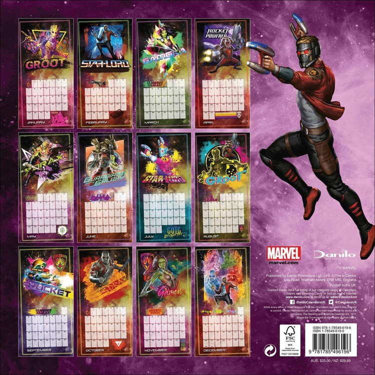 Calendar 2020  Guardians Of The Galaxy