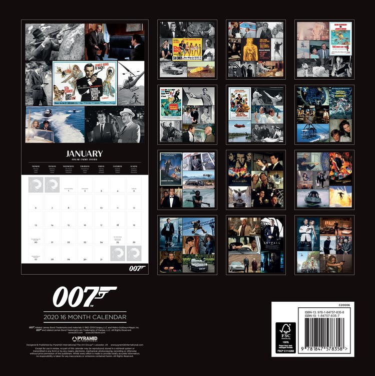 Calendar 2021 James Bond