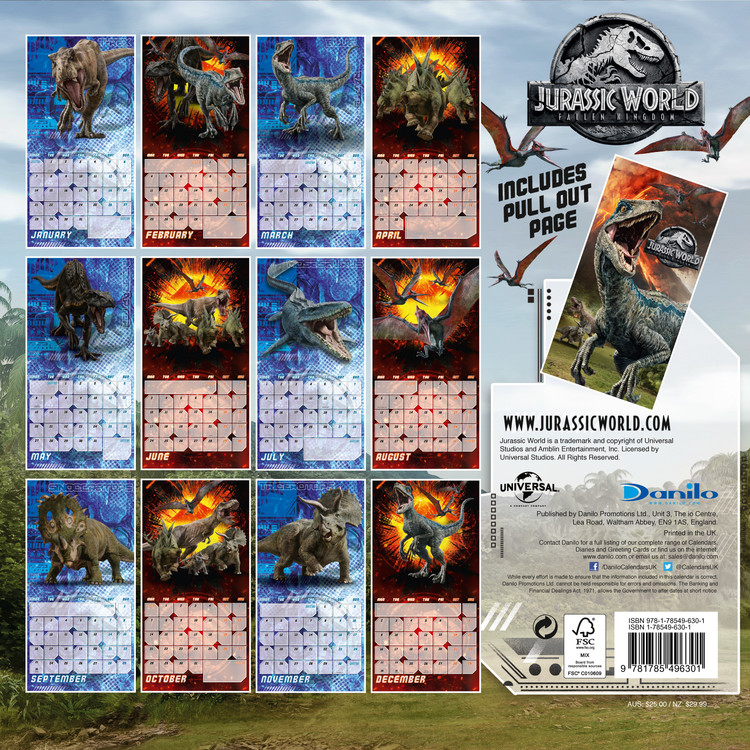 Jurassic World Fallen Kingdom   Calendars on UKposters/EuroPosters