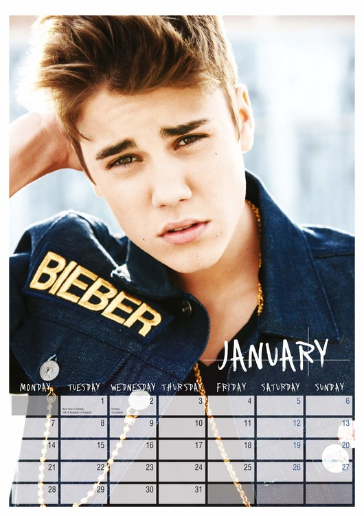 Calendario Ariana Grande 2020.Calendar 2020 Justin Bieber