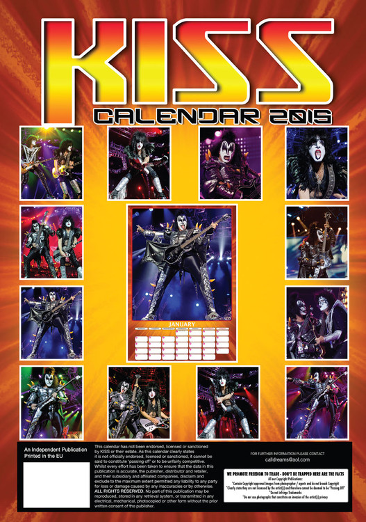 Calendar 2020 Kiss