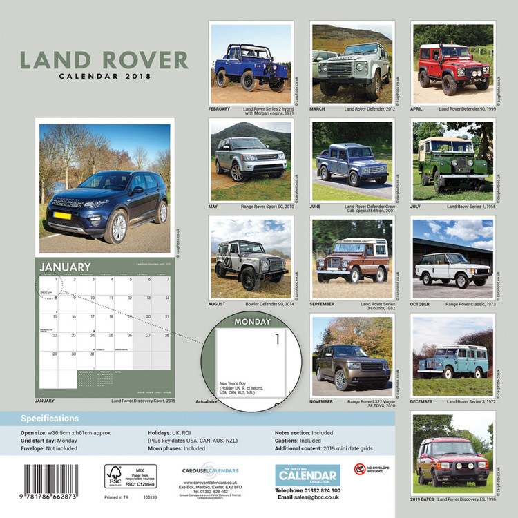 Calendrier Fun Car 2020.Land Rover Calendars 2020 On Ukposters Abposters Com