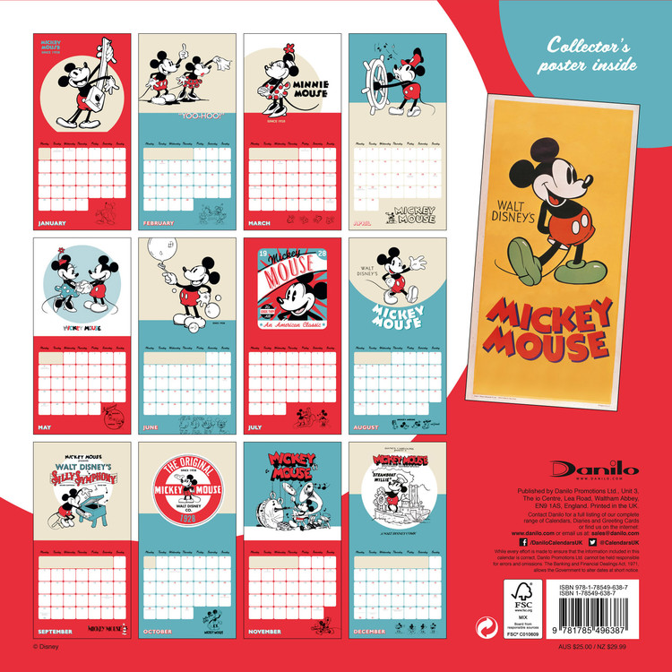 Calendrier 2020 Can.Calendar 2020 Mickey Mouse 90th Anniversary
