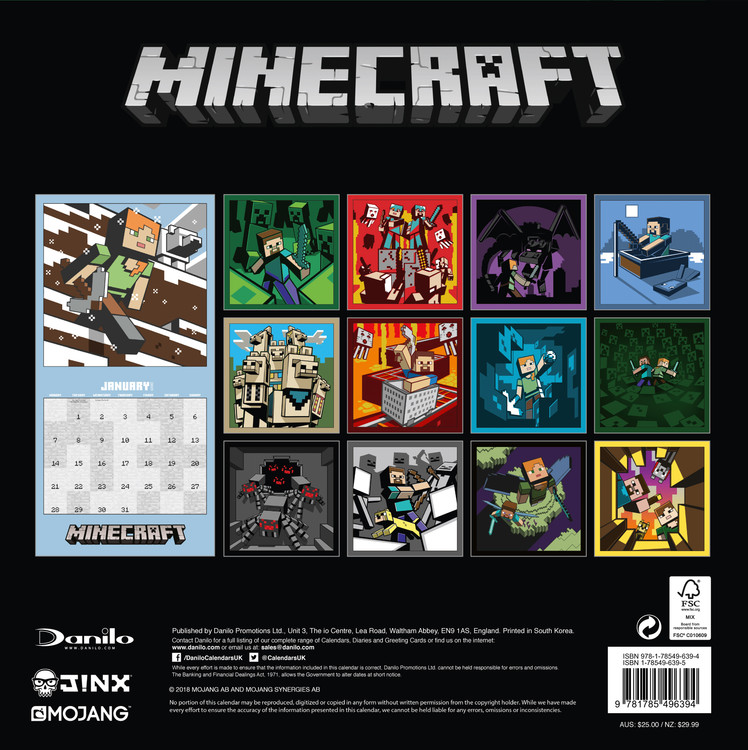Minecraft   Calendars on UKposters/EuroPosters