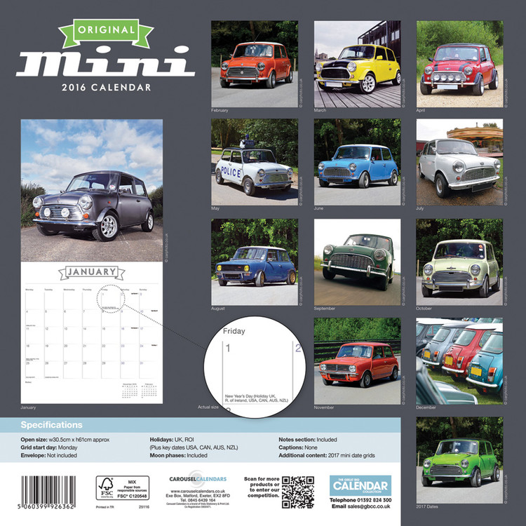 Calendrier Fun Car 2020.Calendar 2020 Original Mini