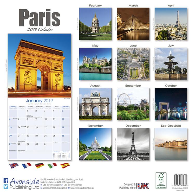 Calendar 2019  Paris