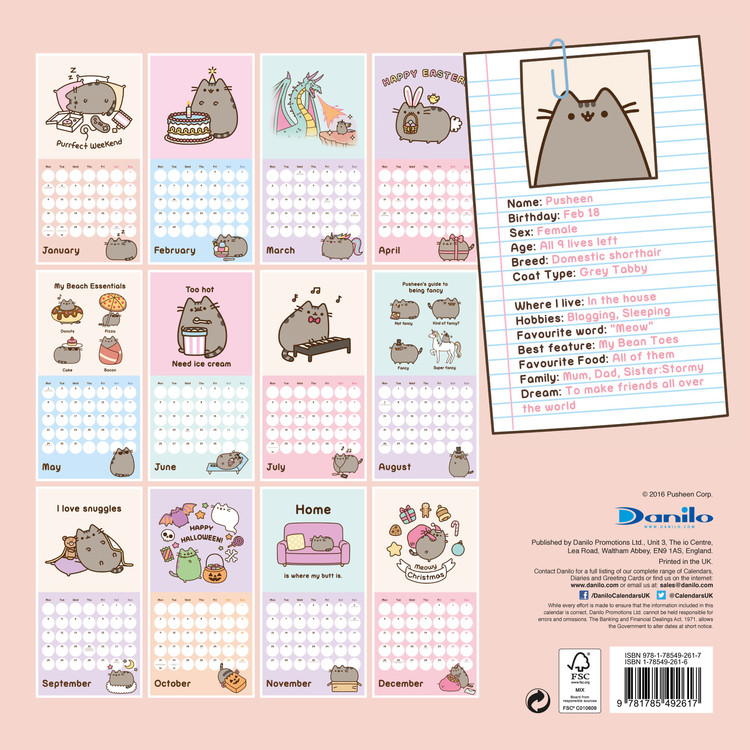 Calendar Square Ideas : Pusheen calendars on ukposters europosters