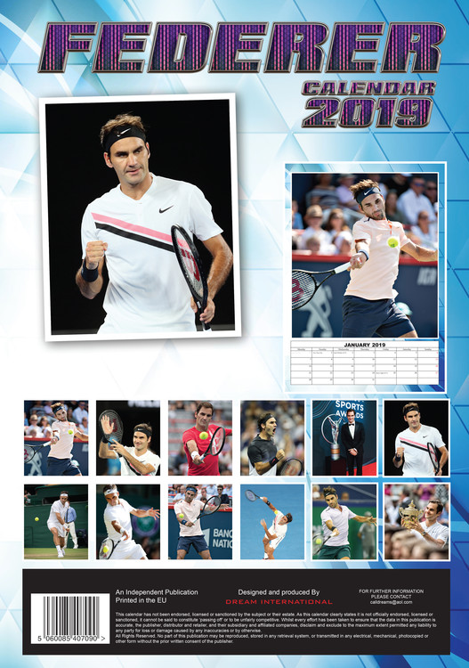 Roger Federer   Calendars 2021 on UKposters/UKposters