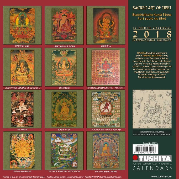 Calendrier Tibétain 2021 Sacred Art of Tibet   Calendars 2021 on UKposters/Abposters.com
