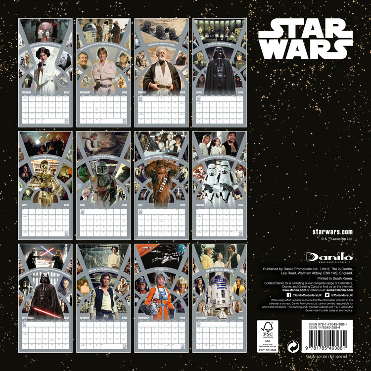 Calendar 2019  Star Wars 40Th Anniversary