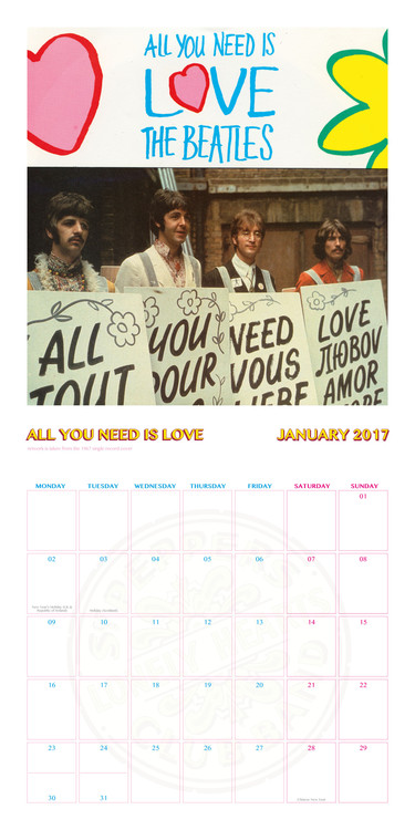 Calendar 2018  The Beatles