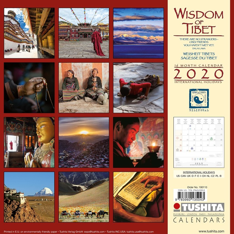 Calendrier Tibétain 2021 Wisdom of Tibet   Calendars 2021 on UKposters/Abposters.com