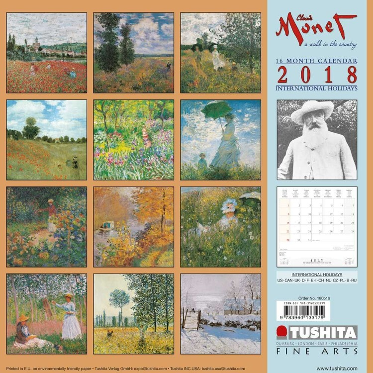 Calendário 2019  Claude Monet - A Walk in the Country