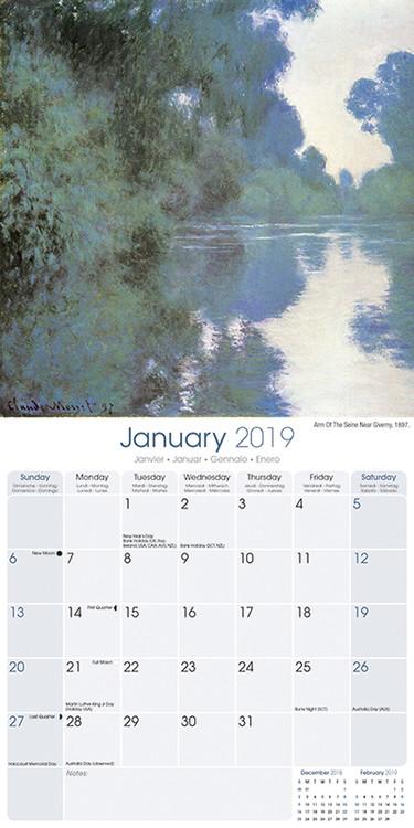 Calendário 2019  Monet