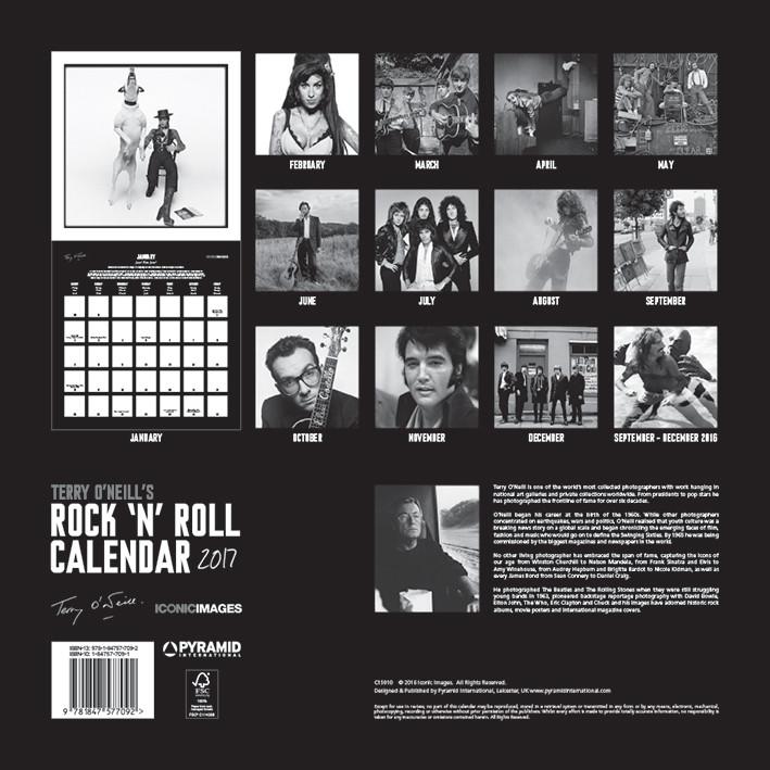 Calendário 2018 Terry O'Neill's Rock 'n' Roll