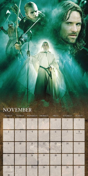 Calendário 2018  The Lord Of The Rings
