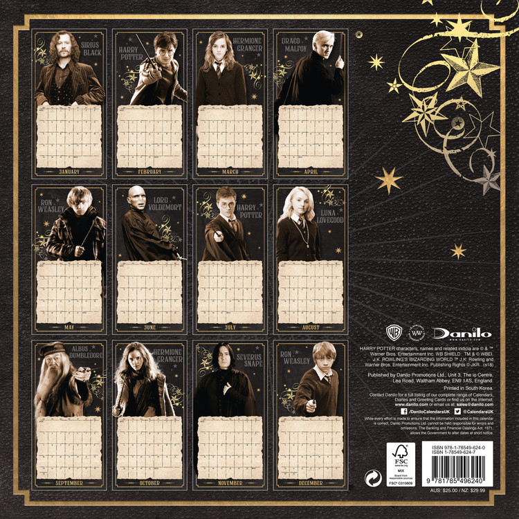 Calendrier 2022 Harry Potter Harry Potter   Wall Calendars 2022 | Large selection
