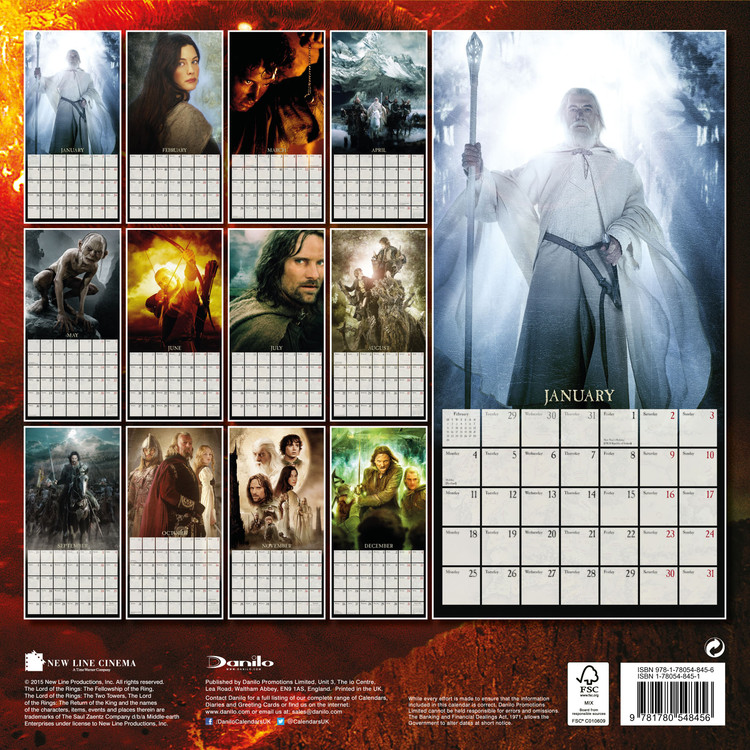 Calendrier Ring 2022 The Lord of the Rings   Wall Calendars 2022 | Large selection