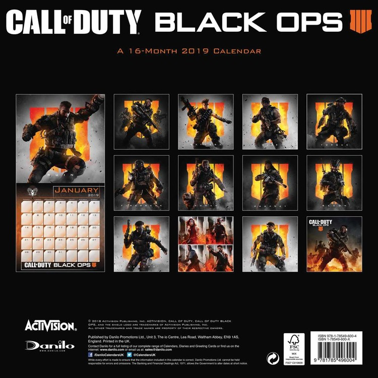 Ops Calendar 2022.Call Of Duty Wall Calendars 2022 Large Selection