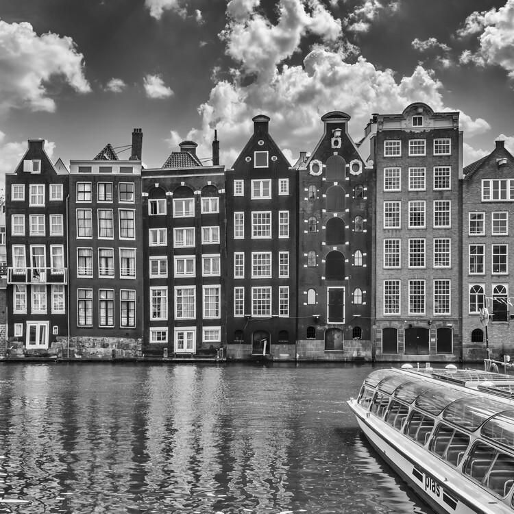 Canvas Print AMSTERDAM Damrak and dancing houses