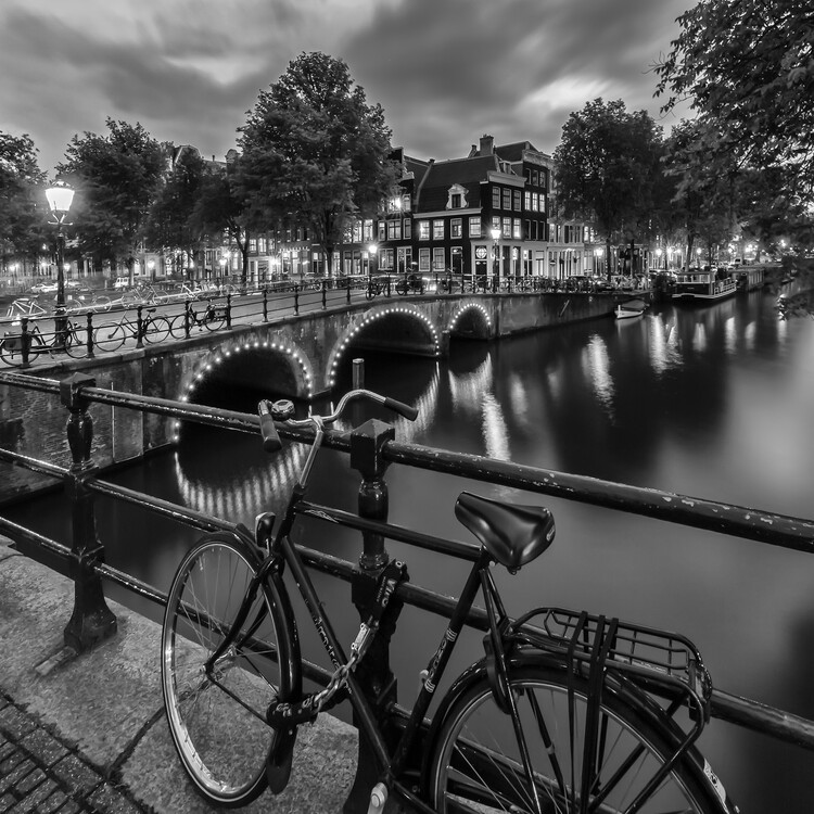 Canvas Print AMSTERDAM Evening impression from Brouwersgracht