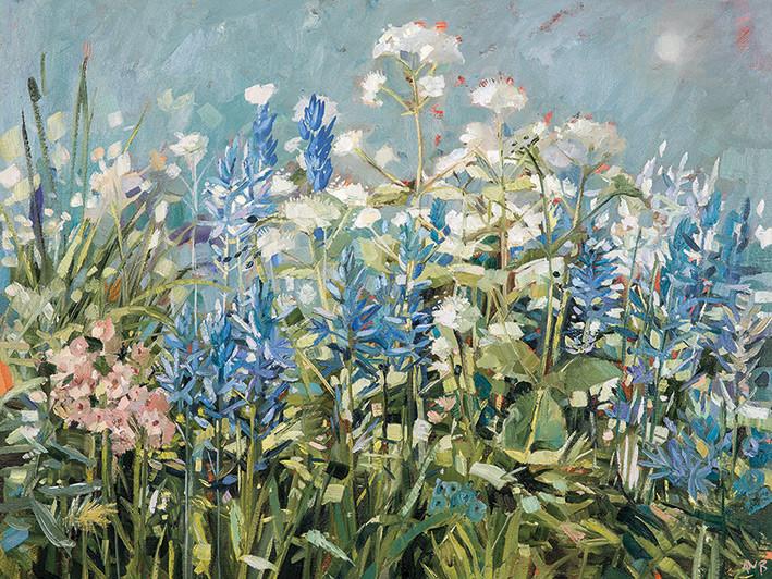 Anne-Marie Butlin - Blue Summer Border Canvas Print