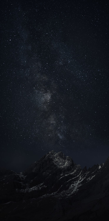 Canvas Print Astrophotography picture of Monteperdido landscape o with milky way on the night sky.