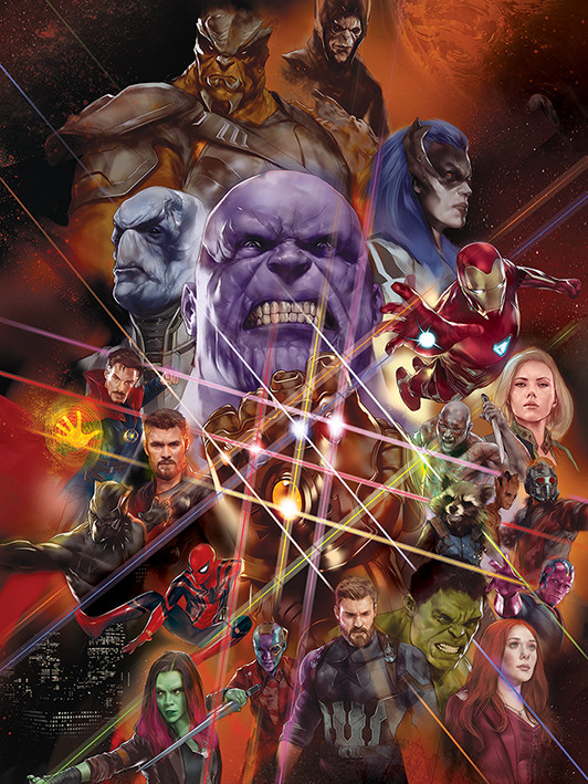 Canvas Print Avengers Infinity War - Gauntlet Character Collage