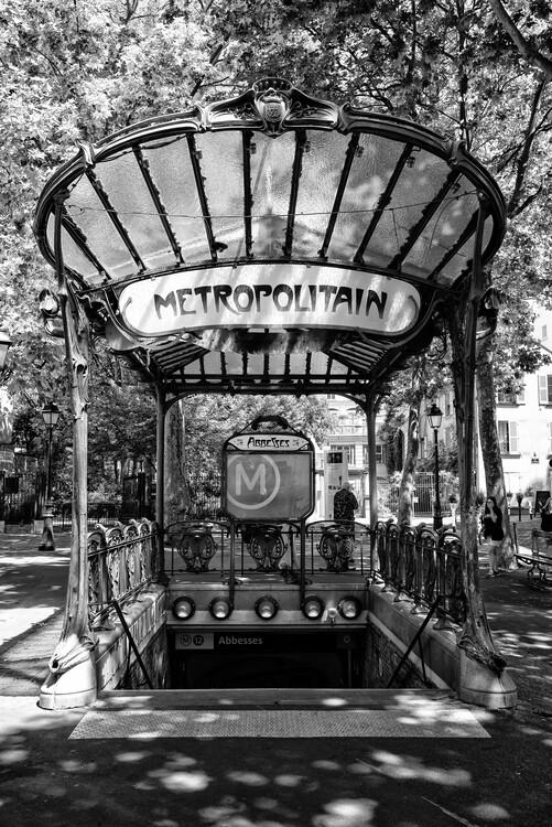 Canvas Print Black Montmartre - Abbesses Metropolitain