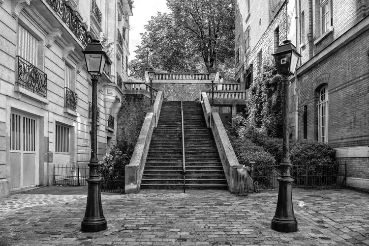 Canvas Print Black Montmartre - Between two Lamps
