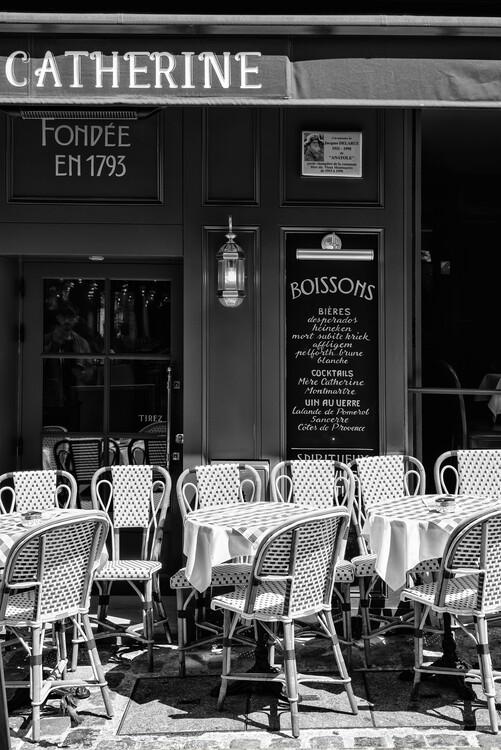 Canvas Print Black Montmartre - Café Paris