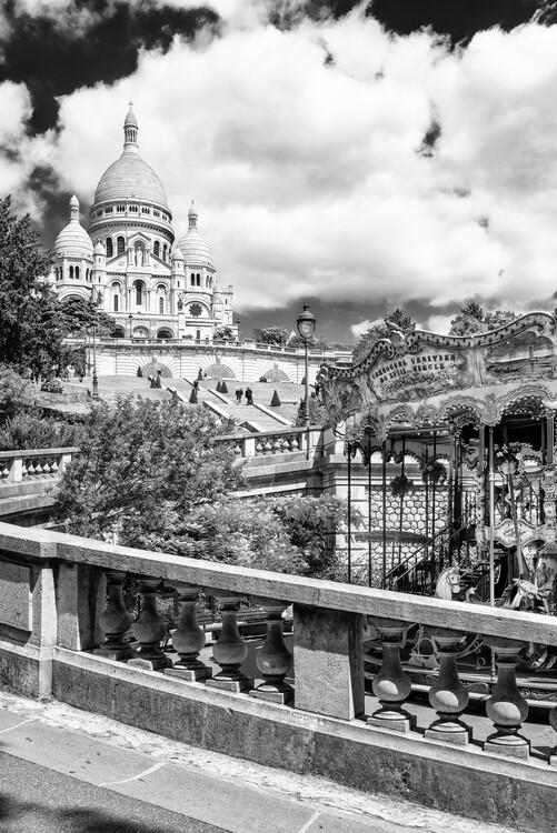 Canvas Print Black Montmartre - Carousel Sacré-Coeur
