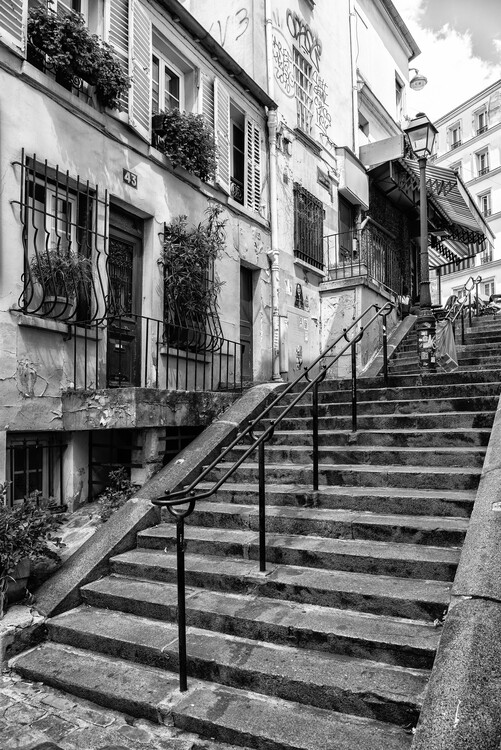 Canvas Print Black Montmartre - French Stairs