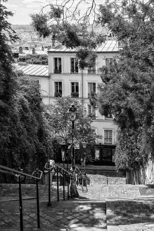 Canvas Print Black Montmartre - Iconic Stairs
