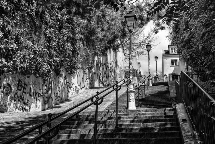 Canvas Print Black Montmartre - La Butte Montmartre