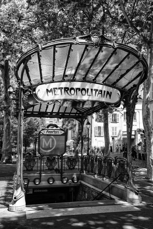 Canvas Print Black Montmartre - Metro Abbesses
