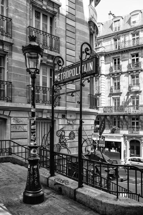 Canvas Print Black Montmartre - Metropolitain
