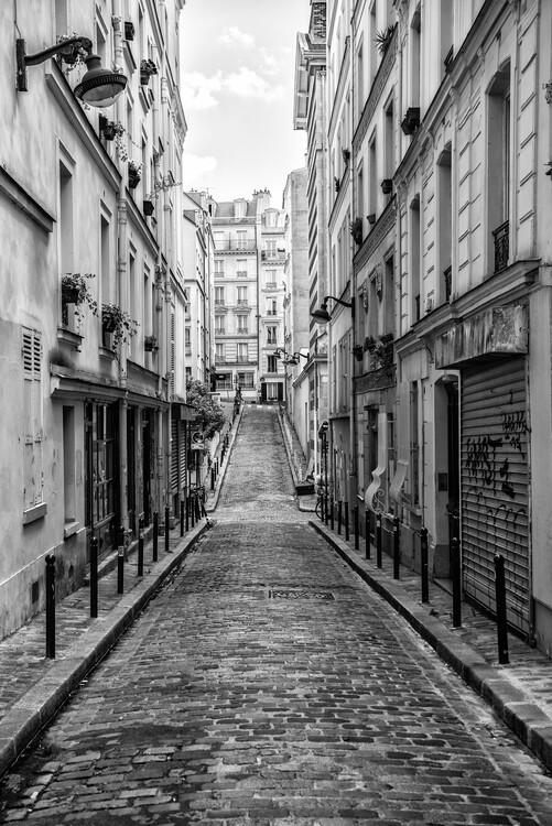 Canvas Print Black Montmartre - Montmartre Street View